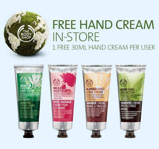 Body shop free hand creme