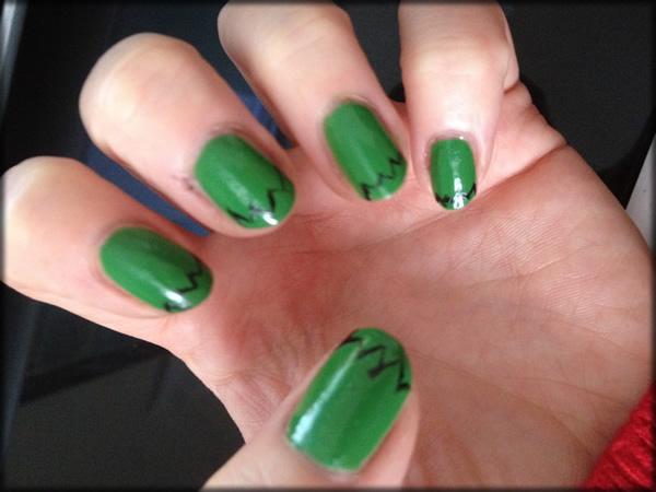 halloween frankenstein nail 2