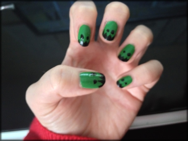 Line Texture On Nails : Halloween frankenstein nails hellbent for lipstick