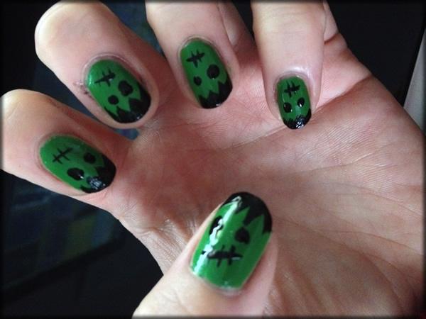 halloween frankenstein nail 5