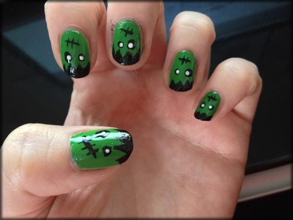 halloween frankenstein nail 6