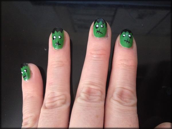 halloween frankenstein nail 7