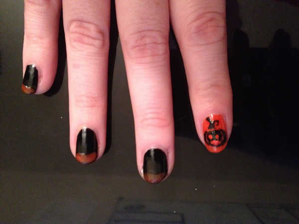 halloween pumpkin nail 10