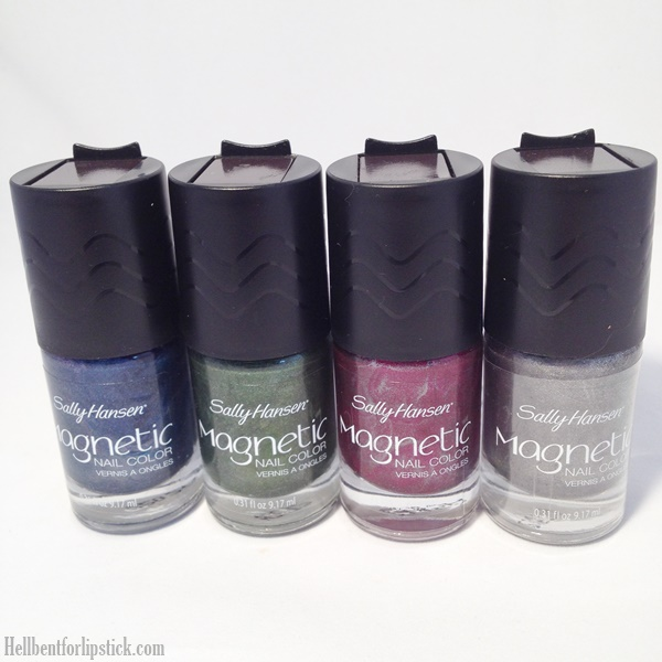 Sally Hansen Magnetic Nail Colour in Iconic Indigo, Electric Emerald, Red-y Response & Silver Elements